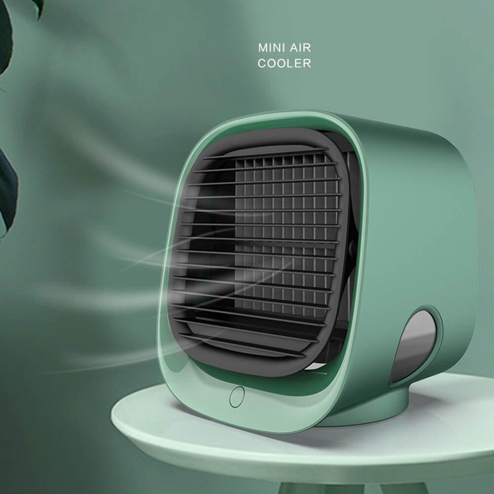 Mini condicionador de ar portátil usb refrigerador de ar de refrigeração rápida led umidificador purificador casa desktop ventilador refrigerador com tanque de água