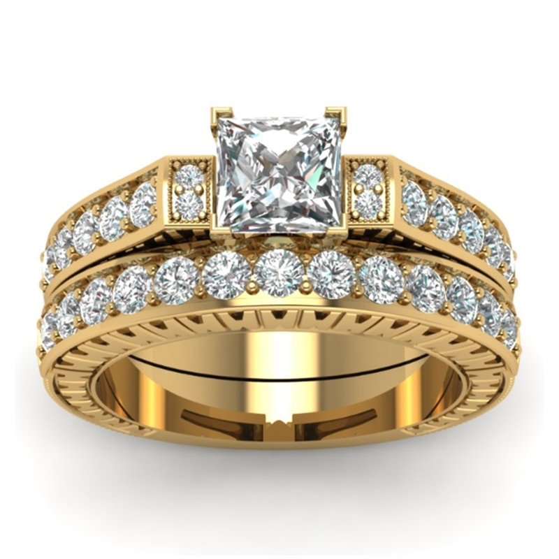 aliexpress.com - FDLK  Exquisite Women's Jewelry Gold Color White Crystal Rings 1.8 Carat Princess Cut Crystal Bridal Wedding Engagement Ring Set