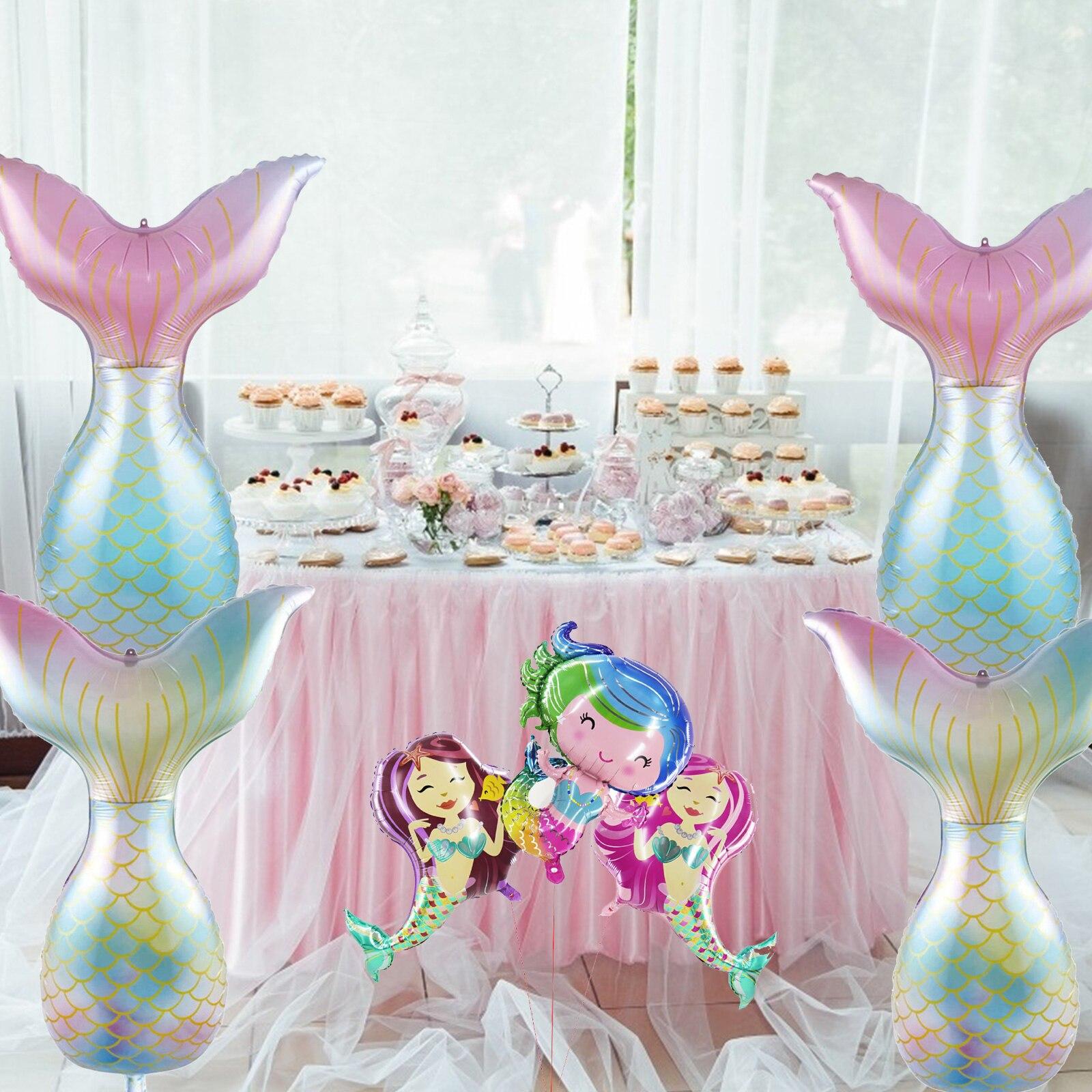 Hermosa sirena cola globo chica cumpleaños fiesta Babay ducha decoración grande dibujos animados pequeña sirena globos juguetes fiesta suministro