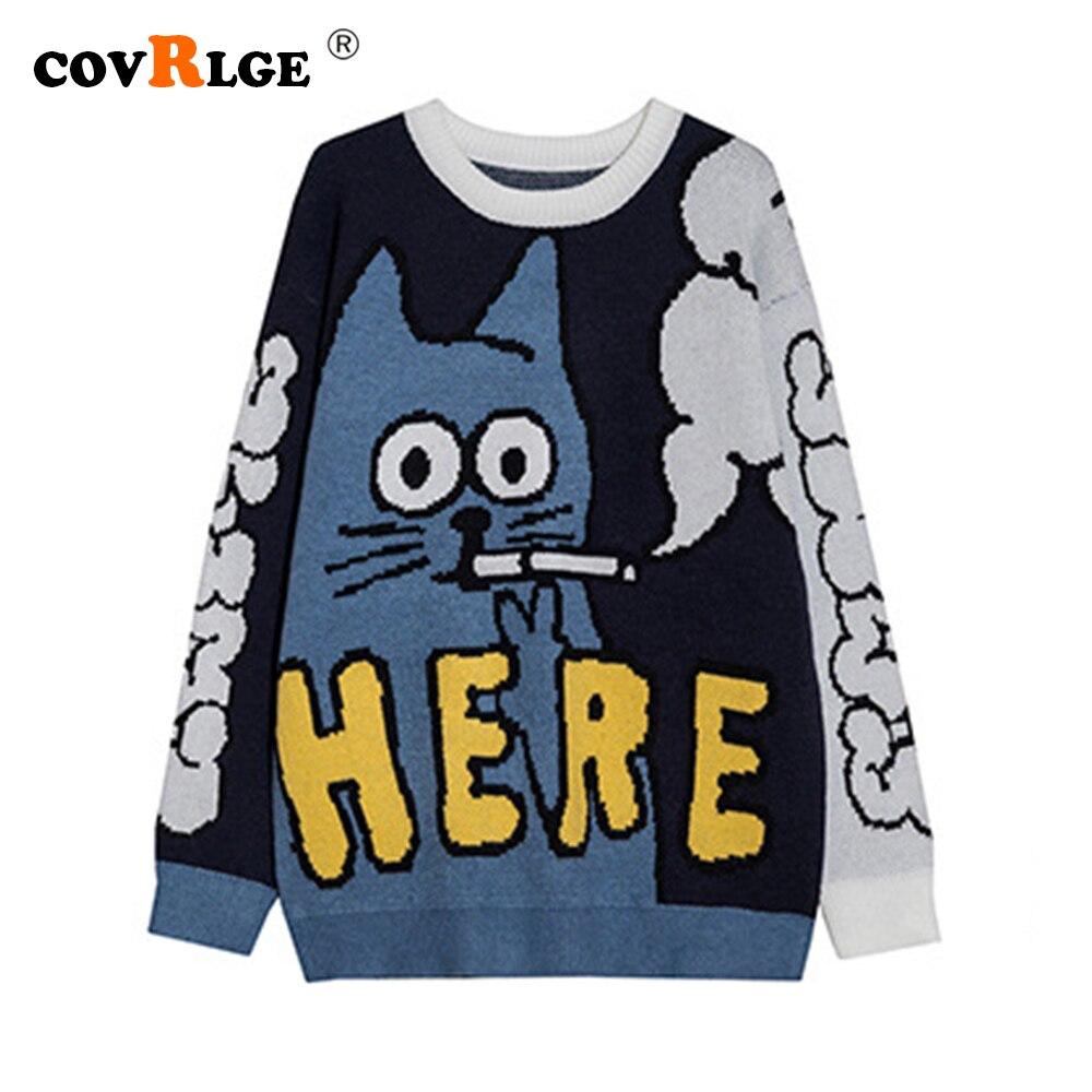 Свитер Covrlge мужской вязаный, брендовый корейский Свободный удлиненный свитер для пар, японский мультяшный свитер с круглым вырезом, MZM107