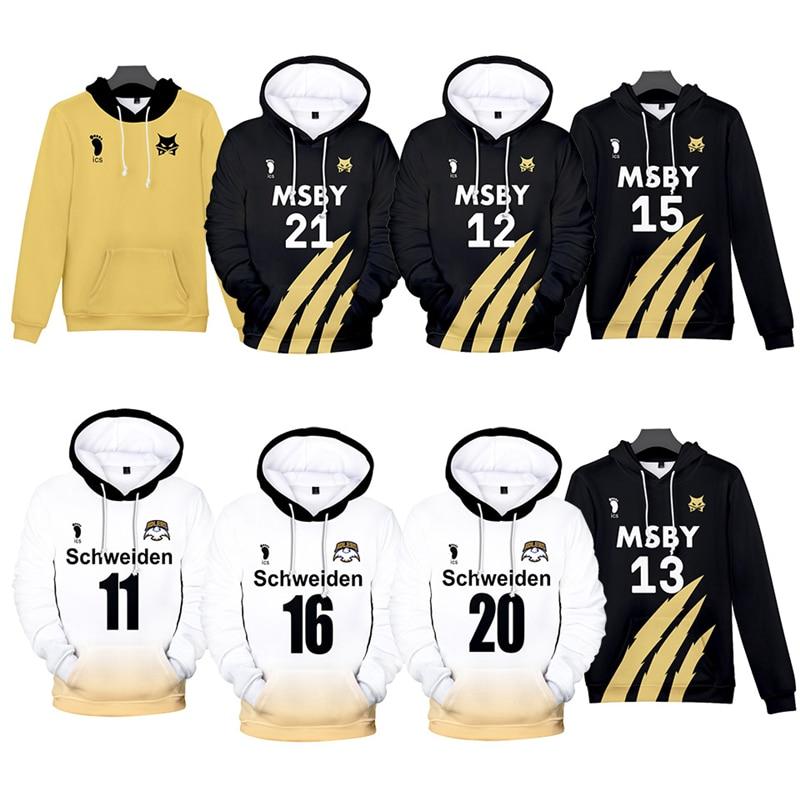 Sudadera con capucha de Anime Haikyuu, sudadera con capucha para Cosplay de Hinata Shouyou MSBY Schweiden Adlers, Sudadera con capucha, jersey de uniforme de voleibol