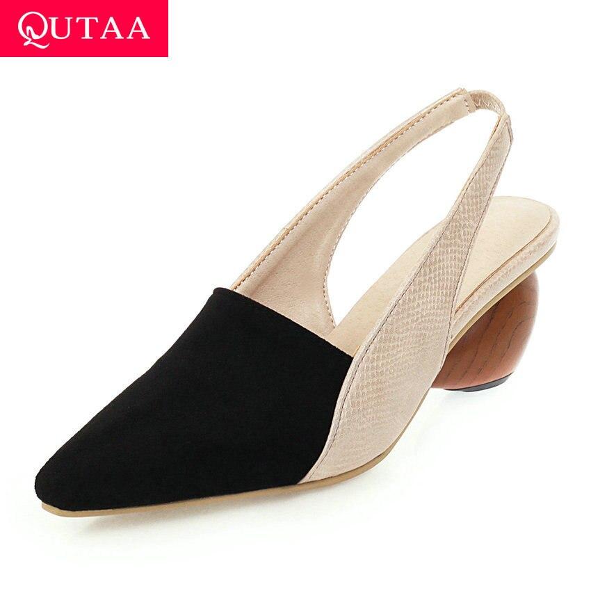 QUTAA 2020 Strange Heel puntiagudo Toe mujeres Zapatos de retales PU cuero Flock damas sandalias verano Slingback mujeres bombas Size34-43