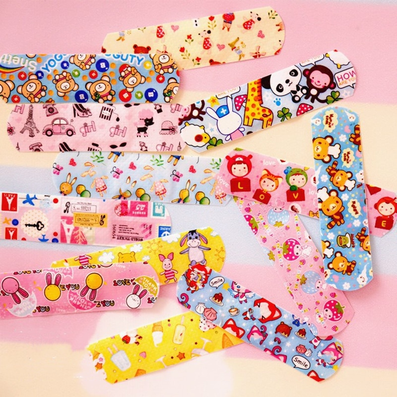 100pcs/lot Cute Cartoon Band Aid Hemostasis Adhesive Bandages First Aid Emergency Kit Wound Plaster For Kids