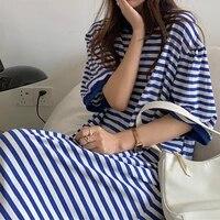 plaid women dresses summer 2021 long sleeve maxi korean casual dress o neck linen elegant modest blue blcak clothing cyber y2k