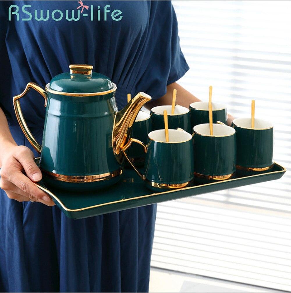 Juego de tazas de cerámica para botellas de agua fría, juego de botellas de agua con esmalte verde oscuro, 6 tazas + 1 tetera + 1 bandeja de juego de tazas de té para Vasos