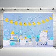 Желтая резиновая утка фон для фотосъемки Новорожденный ребенок душ морской пузырь голубой декор баннер фоны реквизит для фотостудии