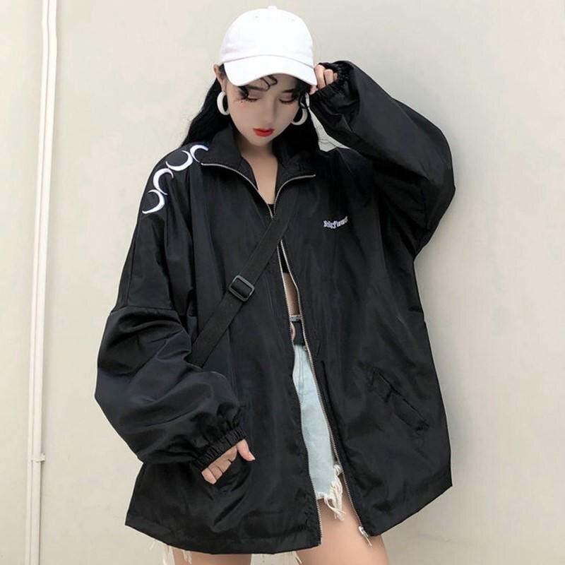Весенняя женская ветровка 2021, верхняя одежда, Бейсбольная Женская куртка в готическом стиле Харадзюку с принтом Луны, мешковатая ветровка, ...