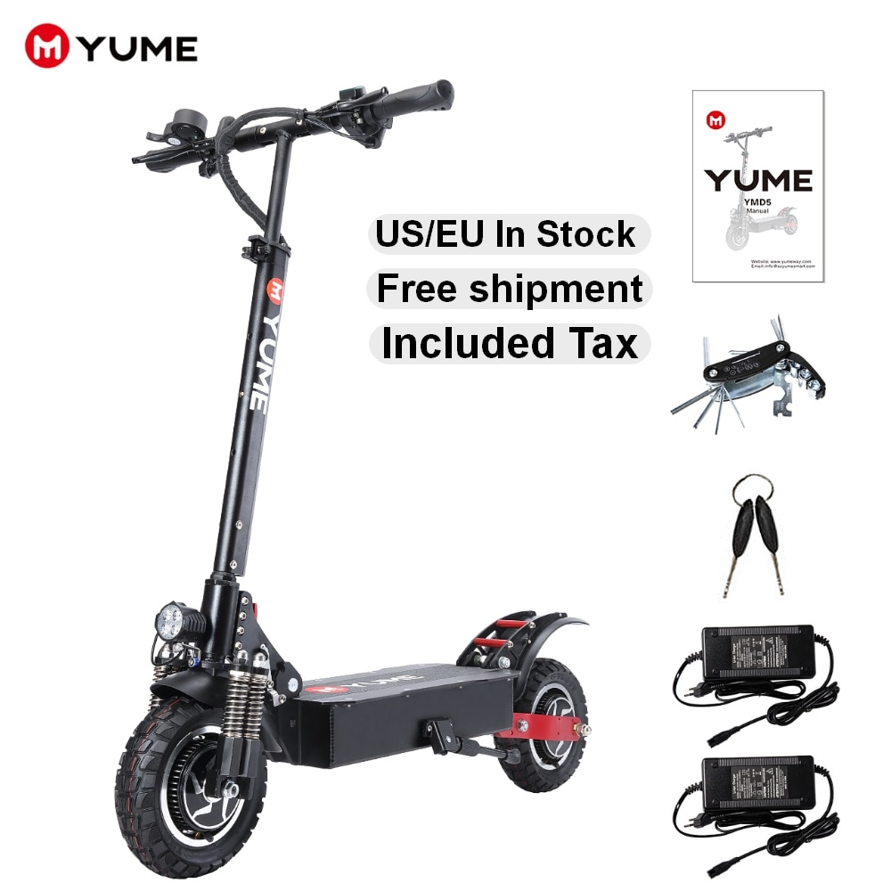 YUME D5 52V 2400W Up to 40 Mile & 40 MPH Off Road Tires E-Scooter,Powerful 10