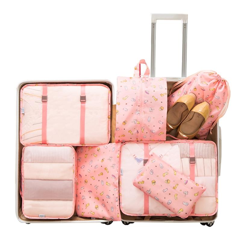 7 unids/set de embalaje de equipaje, organizador de viaje, bolsas de almacenamiento de ropa impermeables, bolsa de malla, accesorios de viaje