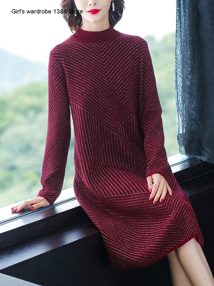 mrs kuo estilo estrangeiro vestido longo de seda brilhante inverno novo solto meia