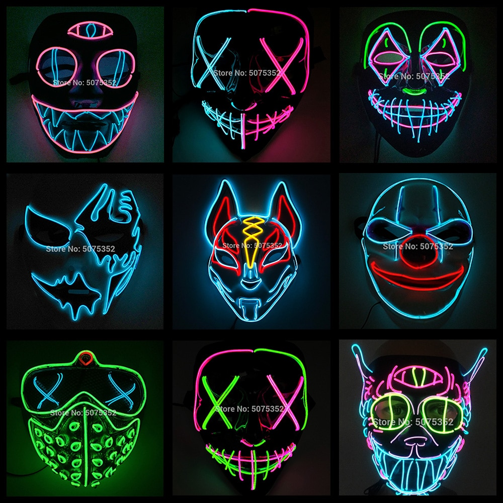 2020 Hot Sales Fashion LED Mask Luminous Glowing Halloween Party Mask Neon EL Mask Halloween Cosplay
