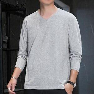 UCAK Brand Silk T-Shirt Men Clothes High Quality Spring Autumn New Tops Classic Casual V-Neck Long Sleeves Tee Shirt Homme U5330