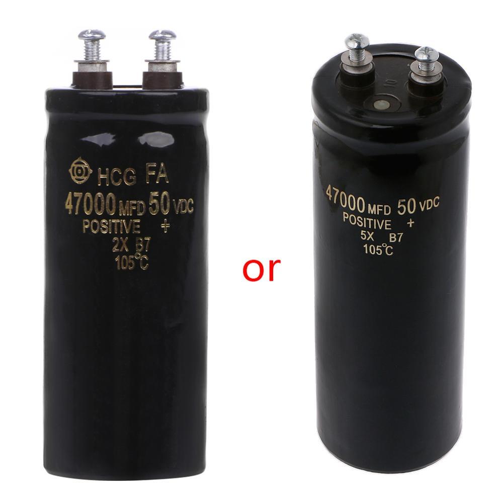 50V 47000UF/MFD Aluminum Screw Audio Filtering Electrolytic Capacitor 105 Celsius Dropship