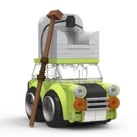 moc for mr bean house roof car building blocks vehicle series touring car bricks diy model toys for children boys gift 87pcs