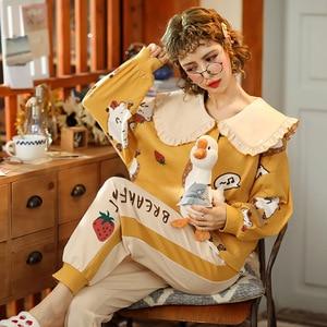 Autumn Winter Pajamas Women Ruffle Cute Pyjamas Set Girl Large size Homewear Night Suit Pajamas Long Sleeve Pyjamas Set