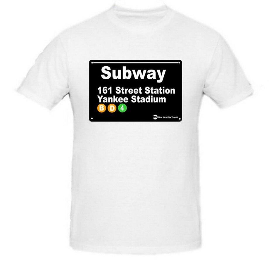 Camiseta NYC Subway Sign York, camiseta Yankee Stadium Station para hombre, camisetas de manga corta de algodón para Fitness, camisetas de diseño divertido
