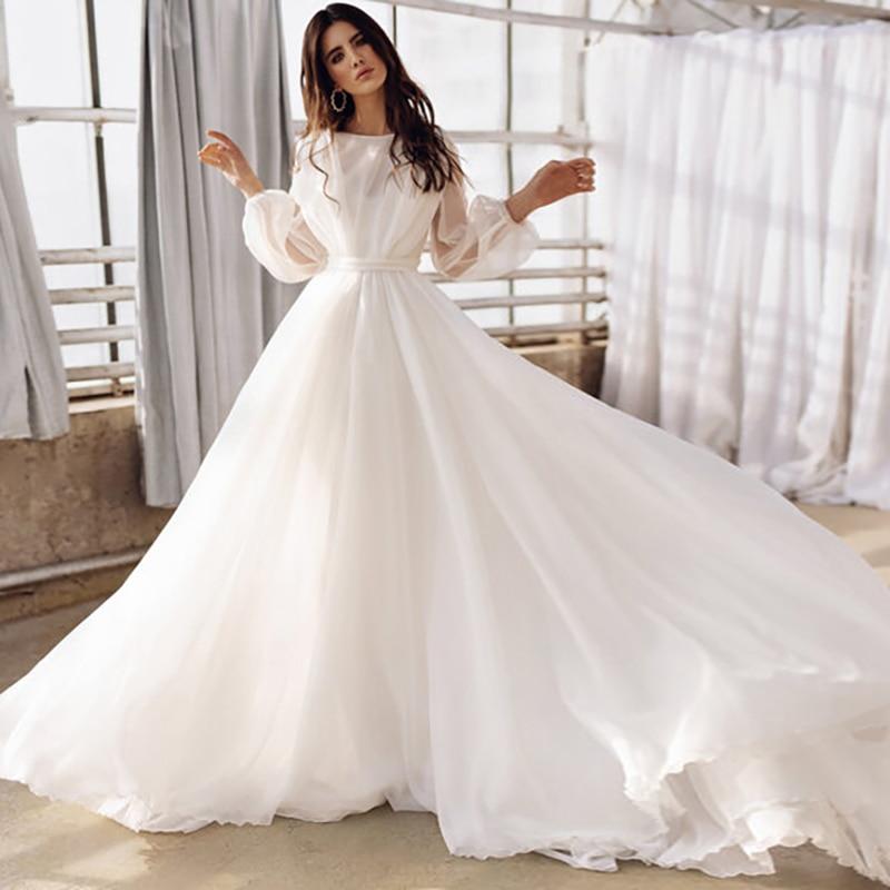 فستان زفاف أبيض 2021 نفخة أكمام طويلة A خط طول الأرض الشيفون Vestido De Noiva حديقة البلد زي العرائس