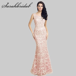 Elegant Evening Gown Embroidery Sequins Floor Length Empire Party Dress Scoop Sleeveless Sexy Back Trumpet Robe De Soiree LX212