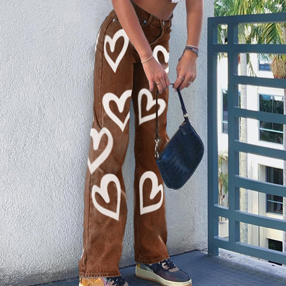 Heart Printed Brown Y2K Baggy Jeans For Girls 2021 Harajuku High Waist Trousers Aesthetic Straight Denim Pants Women Streetwear