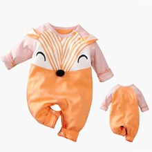 Fox Print Newborn Baby Boy Romper Long Sleeve Infant Jumpsuit Toddler Kids Outfit New Born Girl Clot