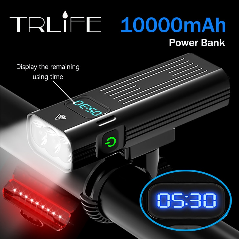aliexpress - 10,000mAh Bicycle Light 5T6 Leds USB Rechargeable 3L2 Digital Display Bike Light Flashlight Cycling Accessories as Power Bank
