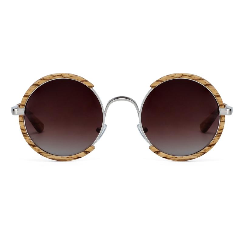جميع الفصول الرجال اليدوية خشبية الاستقطاب النظارات الشمسية التدرج الرمادي العدسات UV400 ريترو ستايل مستديرة النساء نظارات شمسية مع حافظة