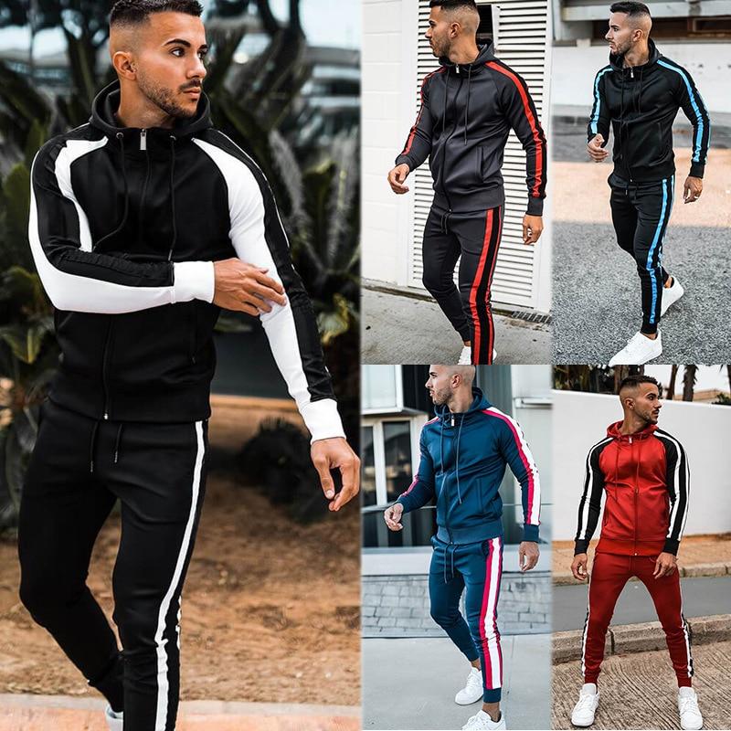 Fitness Clothing Men Autumn Jogging Suits 2 Pcs Sport Long Sleeve Sweater + Gym Pants Workout Track