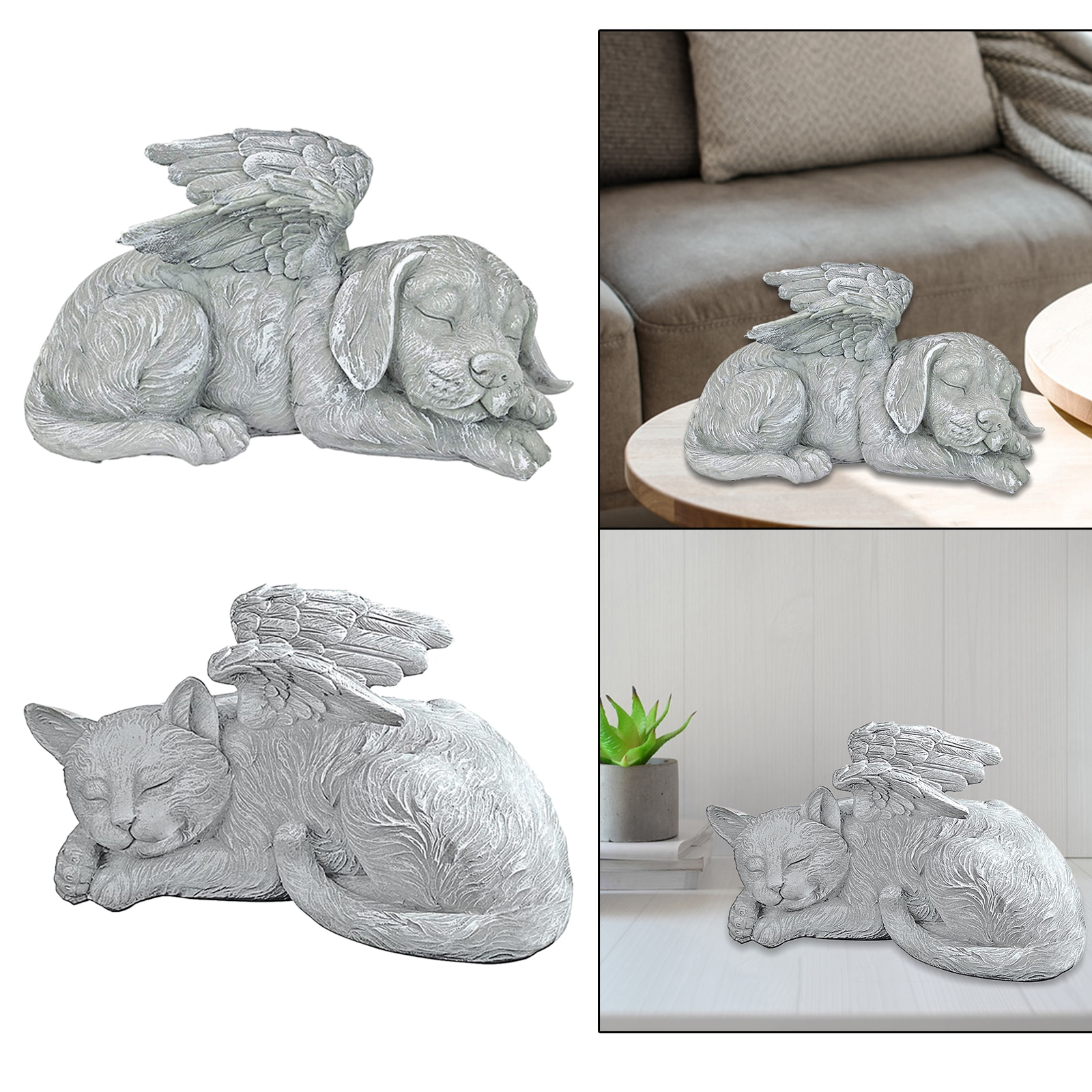 Dog Cat Angel Pet Memorial Statue Grave Marker Tribute, Resin Crafts, Antique Stone Finish  - buy with discount