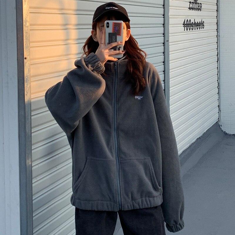 Women sweater 2020 autumn popular women's clothing plus velvet zipper long sleeve autumn thick velvet jacket loose long sleeves
