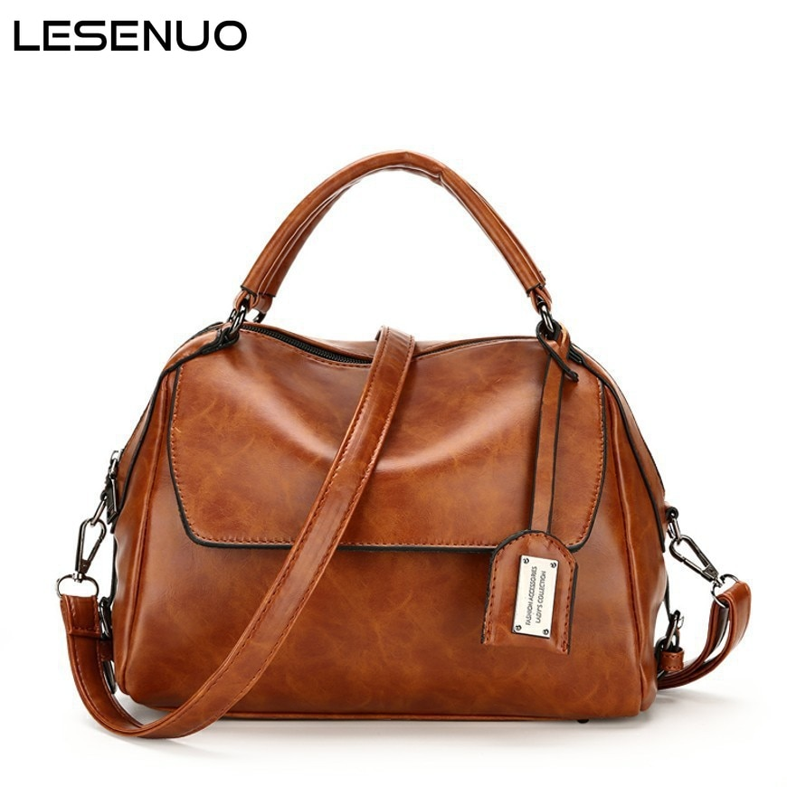Women Oil Wax Boston women's bag PU Leather Designer Handbags High Quality Shoulder Bags  Fashion brand bags Ladies Handbags