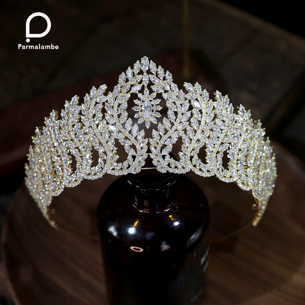 Luxury CZ Bridal Headwear Women Hair Accessories Queen Crowns Bridal Diadem For Pageant Party Wedding Tiaras  Crystal Jewelry
