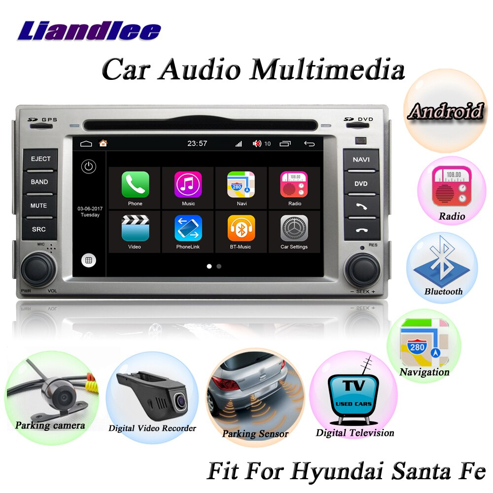 Liandlee para Hyundai Santa Fe 2006 ~ 2011 cámara de Radio OBD TV BT Wifi CD reproductor de DVD GPS mapa GPS Navi navegación sistema Android