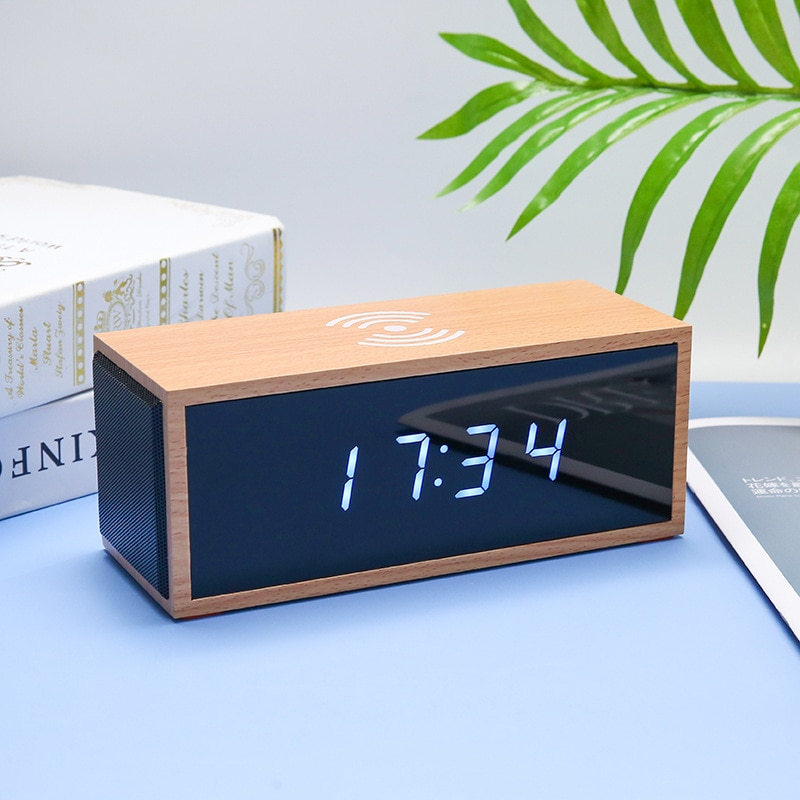 Wooden Acrylic Mirror LED Display Wireless Charger Speaker with Alarm Clock