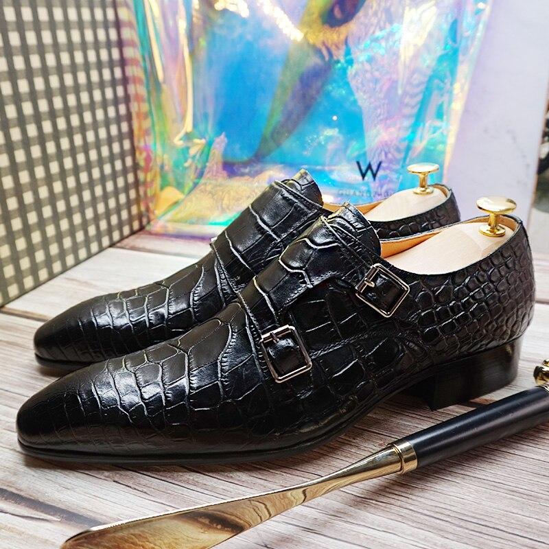 حذاء رجالي فاخر أحذية الانزلاق على مزدوجة الراهب حزام أسود براون الرجال فستان أحذية من الجلد مكتب الأعمال الزفاف الرجال حذاء كاجوال