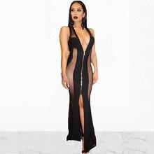 Femmes Sexy col en v profond voir à travers pure maille Robes de soirée sans manches Split longue fermeture à glissière Patchwork Maxi Robes Clubwear
