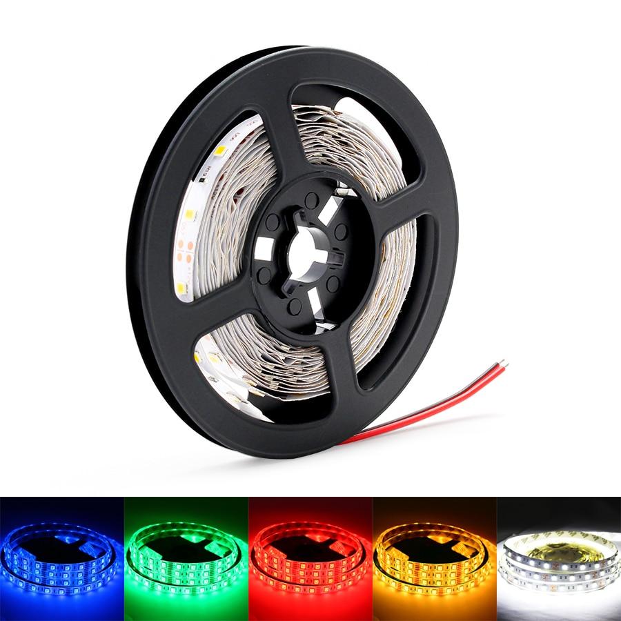12V LED Lights Strip RGB 2835 Light Tape NO Waterproof 5M  60LEDs Flexible Diode TV Backlight