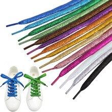 Lacci colorati da uomo da donna di Sneakers lacci metallici Glitter oro lucido lacci piatti argento lacci per scarpe sportive allacciatura per scarpe da corsa