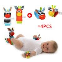 Детские погремушки Sozzy, мягкие плюшевые игрушки, 4 шт., запястье, Набор погремушек, Мультяшные Развивающие игрушки для новорожденных, подарок...