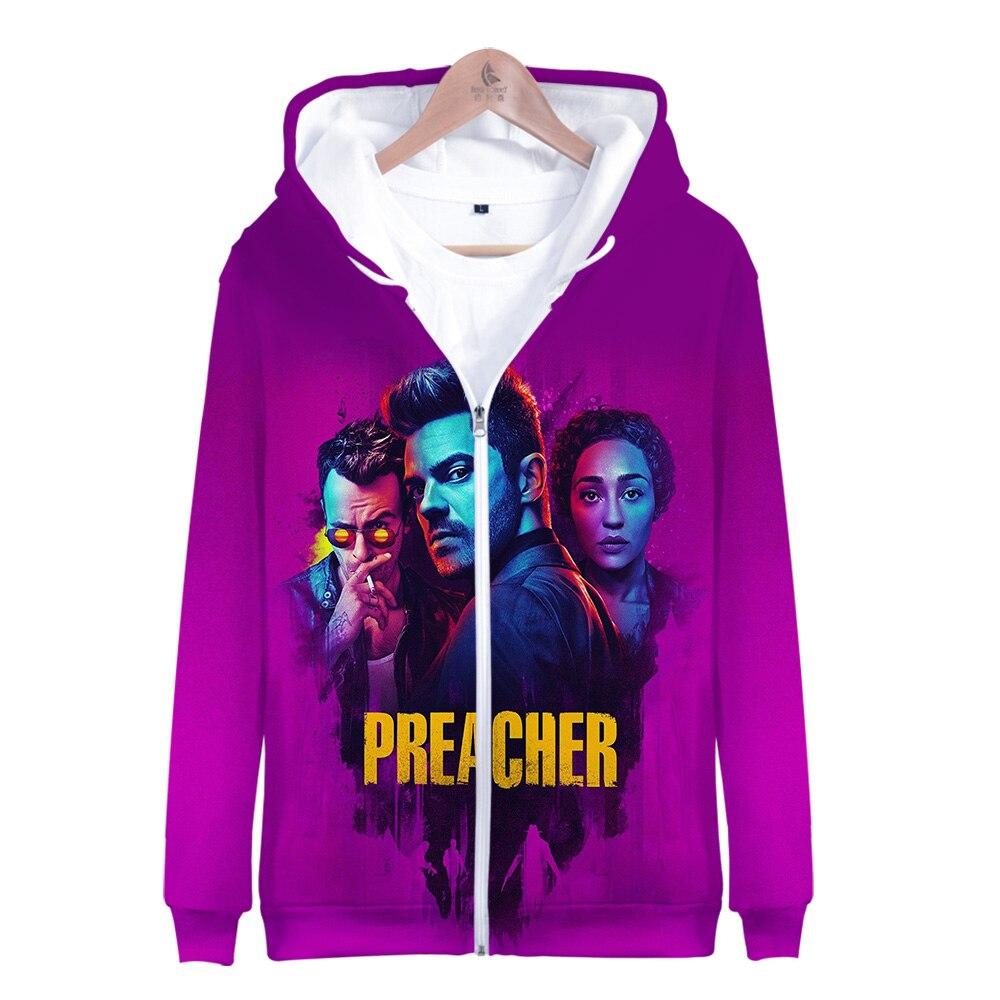 F.T 2019 serie de TV Preacher temporada 4 Jesse castidy tulipán 3D estampado cremallera Sudadera con capucha hombres/mujeres Casual cremallera ropa