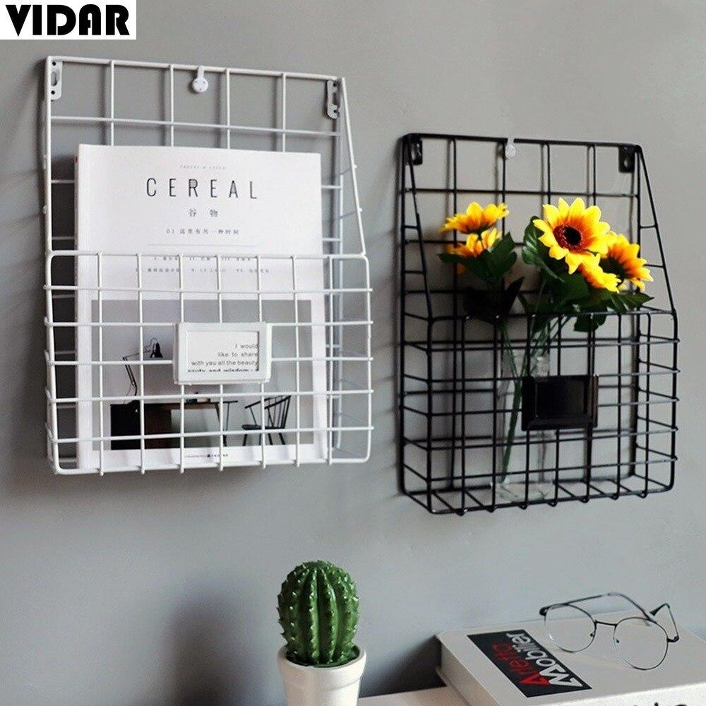 Vidar criativo simples grade de ferro forjado prateleira livro, casa parede decoração jornais e revistas armazenamento estante