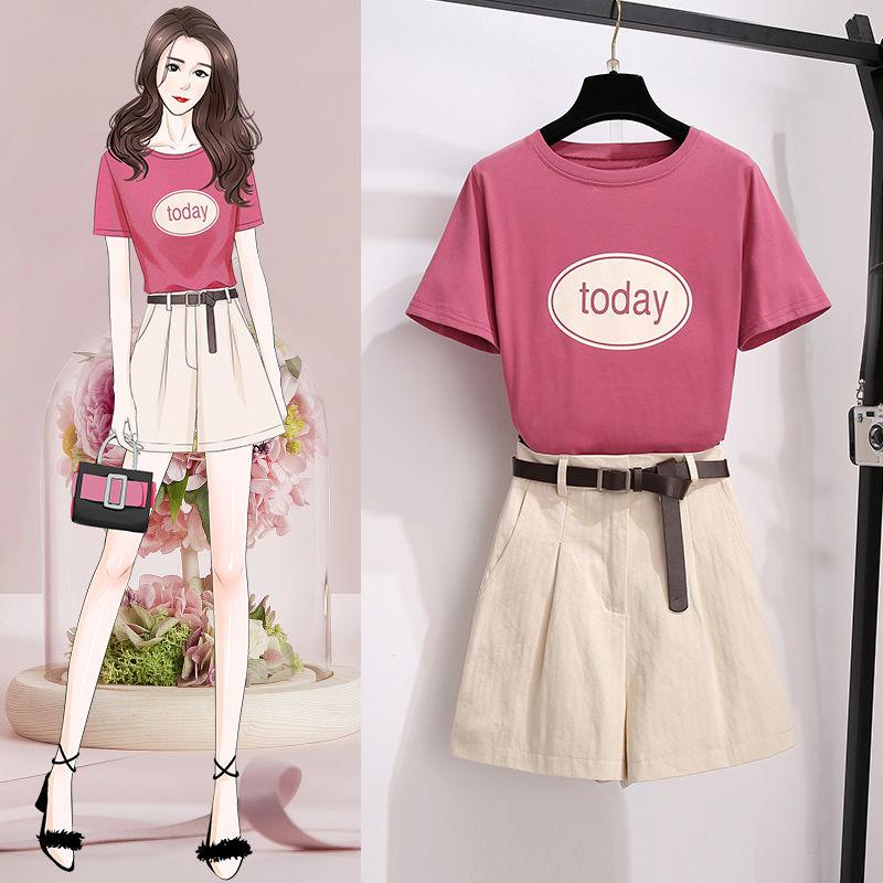 ICHOIX Pink Set Summer 2 Piece Women Outfits Korean Style Tops And Shorts Set Cute Girl 2 Piece Set Clothes T-Shirt + Shorts