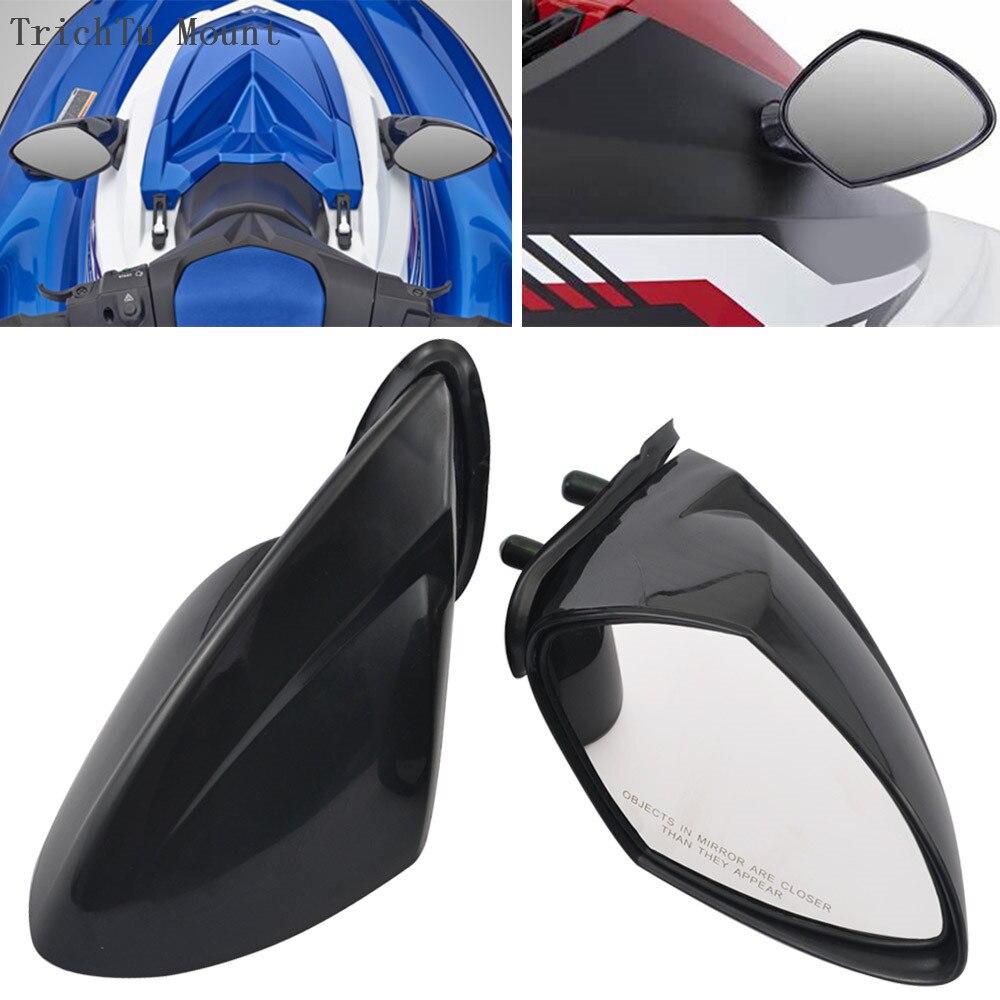 مرآة دراجة نارية سوداء لامعة ، مرآة خلفية L & R مناسبة لـ Yamaha WaveRunner VX 110 Deluxe EX R EX Deluxe
