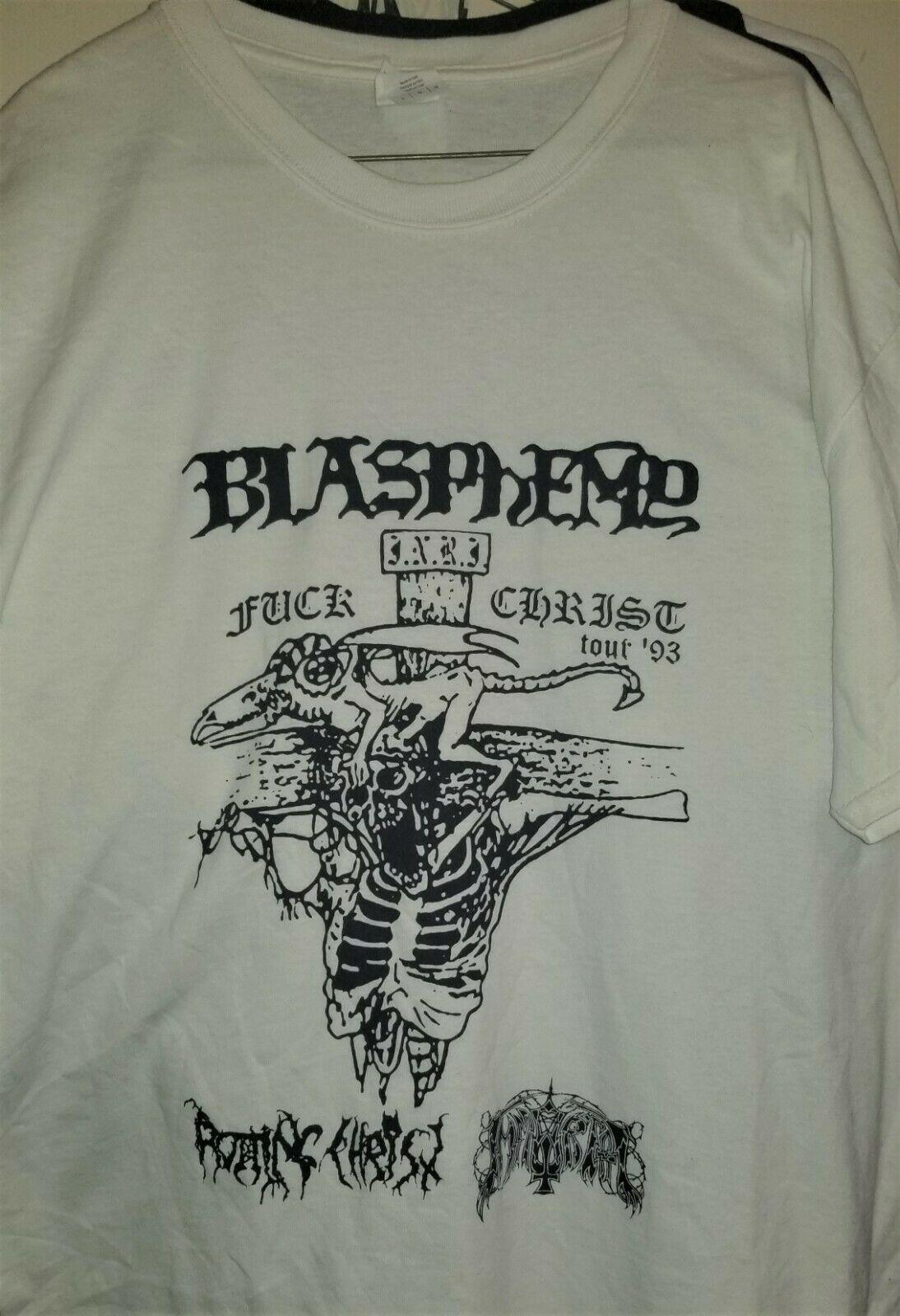 Blasfemia Fuk Cristo Tour T camisa talla L inmortal Rotting Christ de Metal negro