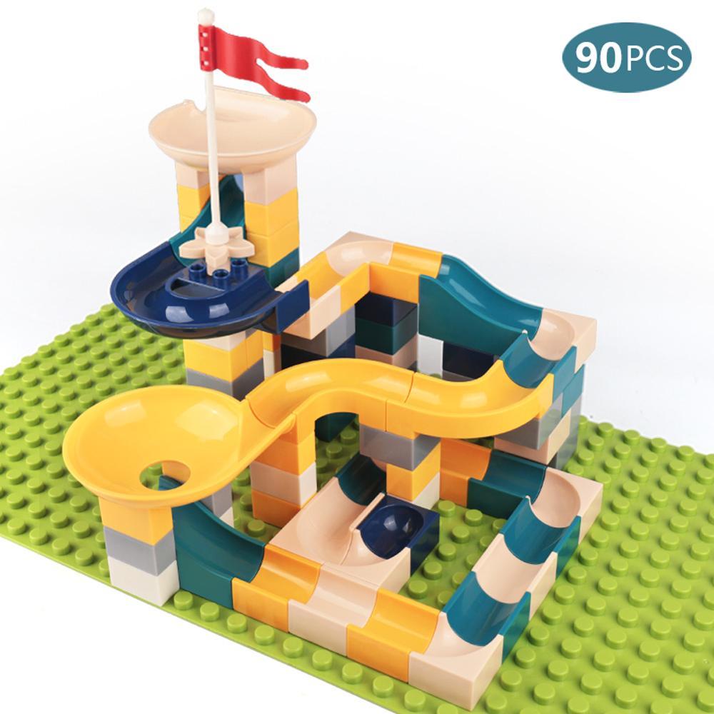 Bloques de construcción de mármol para niños 90 Uds., bolas de laberinto, pista de embudo, Tobogán, juguetes para niños