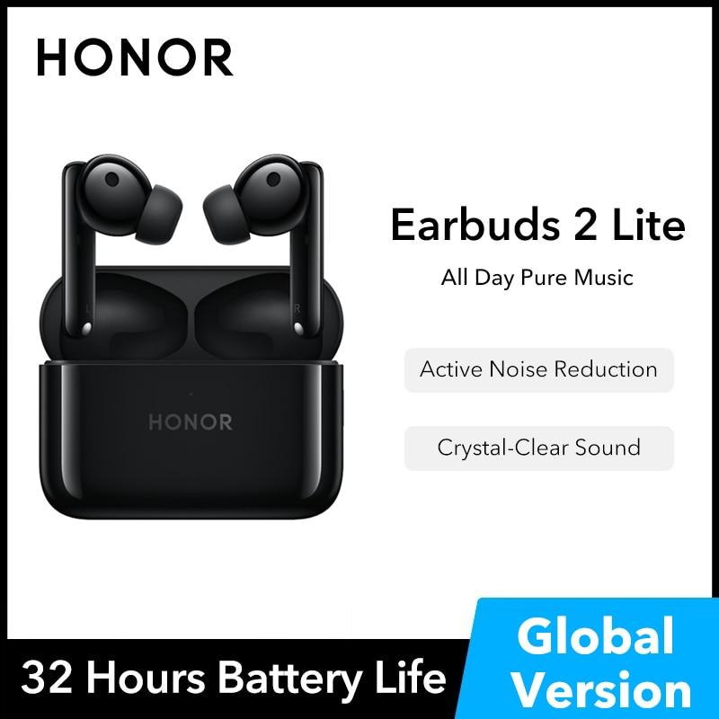 سماعات أذن من HONOR سماعات أذن لاسلكية الإصدار العالمي 2 Lite سماعات أذن TWS مزودة بخاصية إلغاء الضوضاء سماعات أذن ANC تدعم البلوتوث 5.2