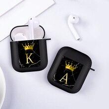 Funda blanda para AirPods 2 1, carcasa de silicona con letras A, B, C, corona dorada, compatible con Bluetooth