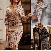 woman casual dresses for women floer midi dress bag hip slim v neck sexy formal dresses long sleeve