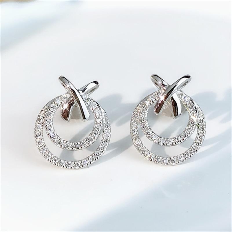 100% S925 Sterling Silver Color Stud Earring for Women Fashion Silver 925 Jewelry Trendy Natural Bizuteria Diamond Earrings недорого