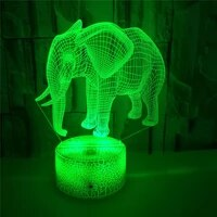 elephant 3d lamp illusion led night light for kids room creative 3d table lamp owl figure nightlight children gift toys birthday