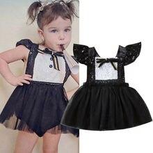 UK Neugeborenen Baby Mädchen Pailletten Strampler Tüll Kleid Overall Bodysuit Kleidung Outfit